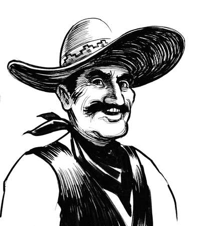 Mexican farmer. Ink black and white illustration