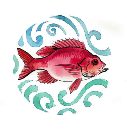 Watercolor illustration of a red fish in water