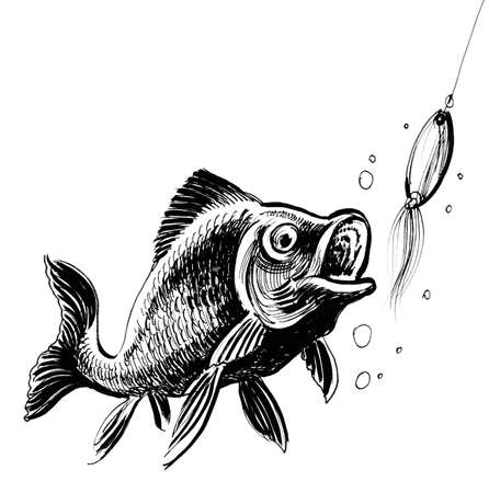 Fish biting a bait. Ink black and white illustration