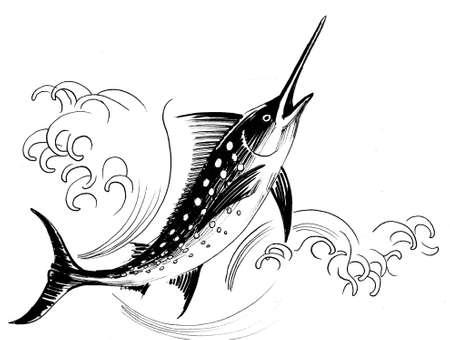 Sword fish. Ink black and white illustration
