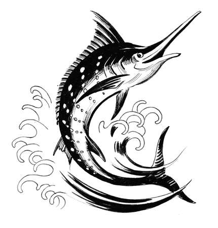 Jumping sword fish. Ink black and white drawing