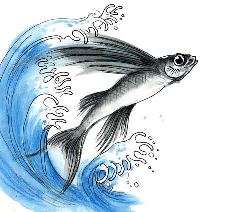 Flying fish and blue wave. Ink and watercolor sketch