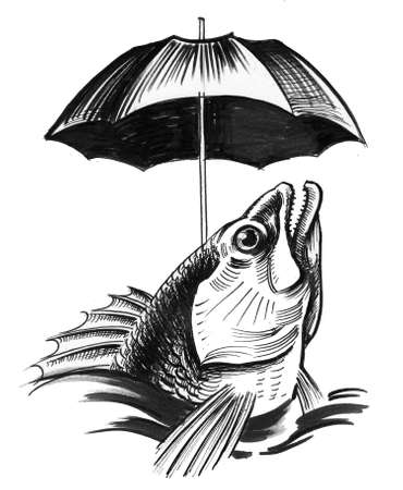 Fish under the umbrella. Ink black and white drawing