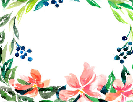 Watercolor flowers and berries