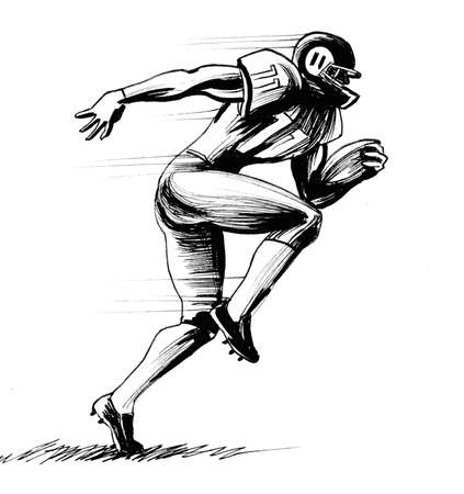 American football player. Ink black and white illustration Banque d'images