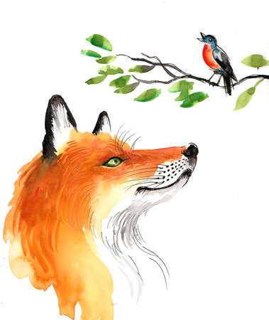 Fox listening to a singing bird. Watercolor illustration