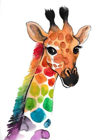 Regenboog giraf. Inkt en aquarel illustratie Stockfoto