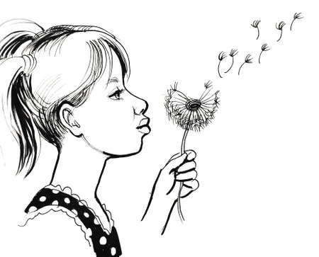 Girl and dandelion. Ink black and white drawing Фото со стока