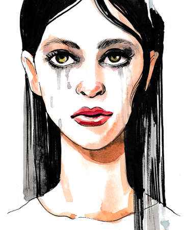 Crying woman. Ink and watercolor sketch Imagens
