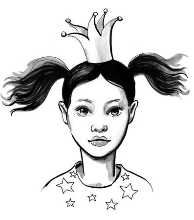 Little princess in the crown. Ink black and white illustration