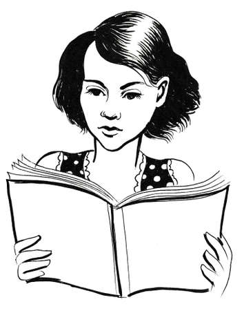 Girl reading a book. Ink black and white illustration 스톡 콘텐츠