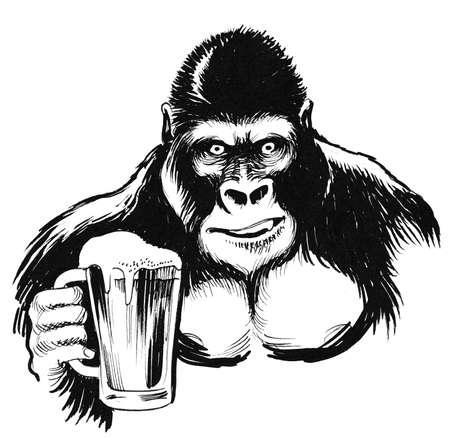 Gorilla with a beer mug. Ink black and white illustration