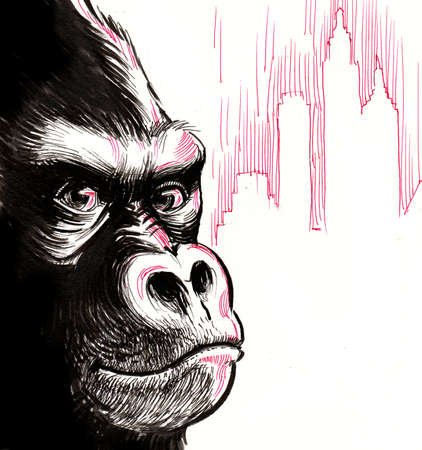 Gorilla face and the city. Ink illustration 스톡 콘텐츠