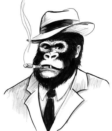 Gorilla baas in pak en een sigaar