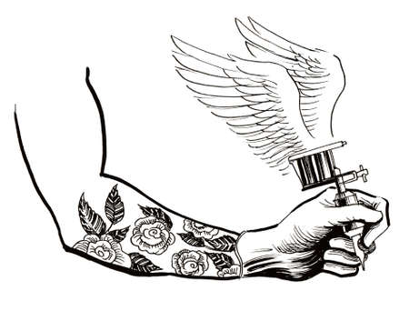Hand with a winged tattoo machine Stock fotó