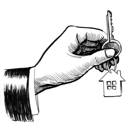 Hand with a key. Ink black and white drawing