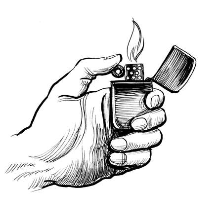 Hand holding a burning lighter. Ink black and white drawing
