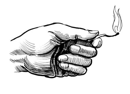 Hand with a burning match. Ink black and white illustration Stok Fotoğraf