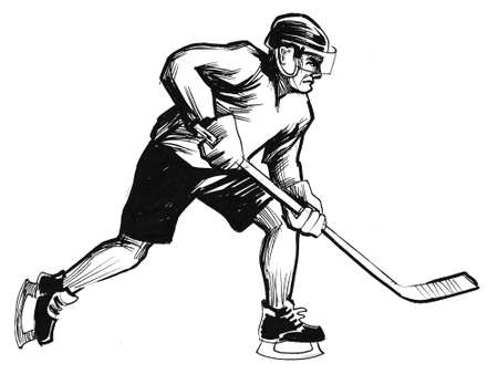 Ice hockey player. Ink black and white illustration