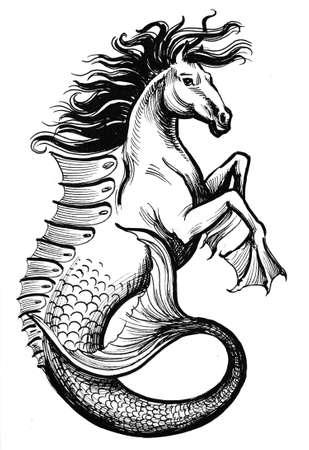 Hippocampus animal illustration Фото со стока