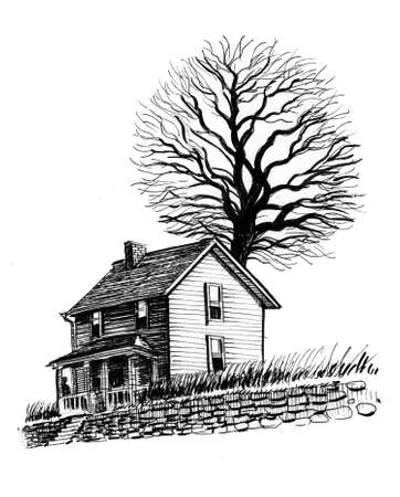 Old house and bare tree. Ink black and white illustration