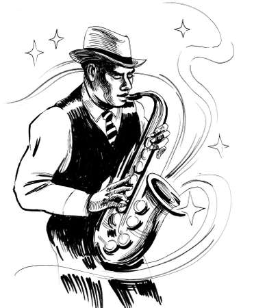 Jazz musician playing ob saxophone. Ink black and white drawing