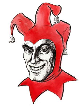 Joker face. Ink black and white illustration Фото со стока
