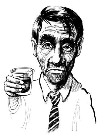 Drunkard with a glass of whiskey