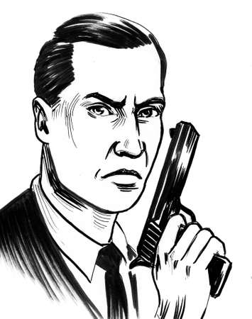 Spy with a gun. Ink black and white illustration