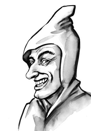 Weird man in hood. Ink black and white drawing