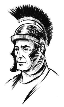 Ancient Roman warrior in helmet Stock Photo