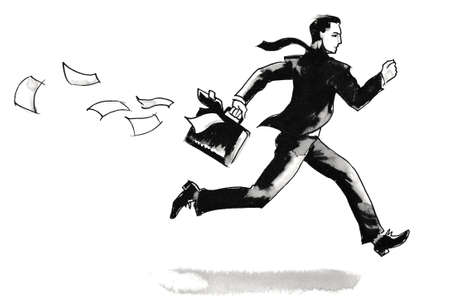 Running businessman. Ink black and white drawing 스톡 콘텐츠