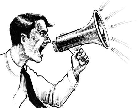 Shouting man with a megaphone. Ink black and white illustration Reklamní fotografie