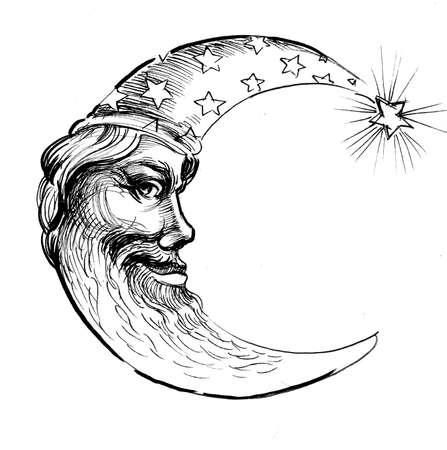 Moon face. retro styled ink illustration