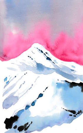 Watercolor snow mountain and purple sky