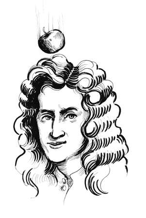 Sir Isaac Newton. Ink black and white illustration Imagens