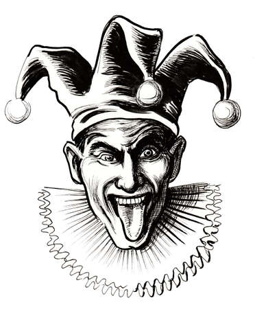 Laughing jester. Ink black and white illustration