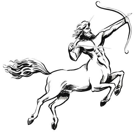 Centaur with a bow and arrow. Ink black and white illustration