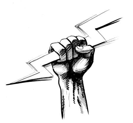 Hand with a lightning bolt. Ink black and white illustration