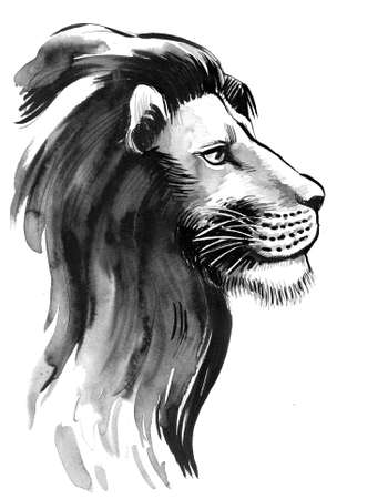 Lion head. Ink black and white illustration