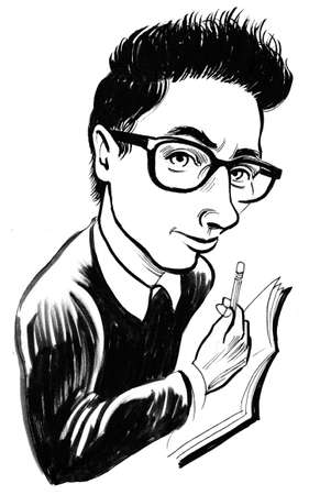 Geek character. Ink black and white illustration