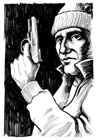 Gangster with a gun. Ink black and white illustration Stock Photo