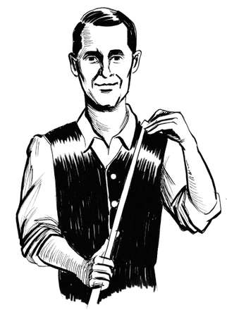 Man with a billiard cue