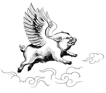 Flying pig. Ink black and white illustration