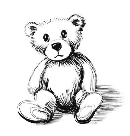 Teddy bear toy. Ink black and white illustration 版權商用圖片
