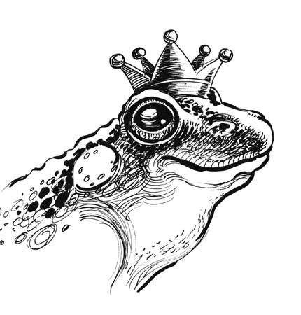 Queen frog. Ink black and white illustration Imagens