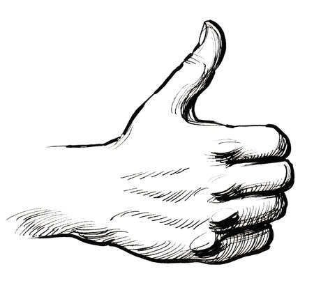 Hand with a thumb up. Ink black and white illustration