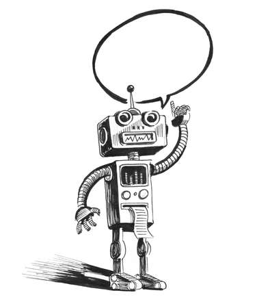 Speaking retro robot 스톡 콘텐츠