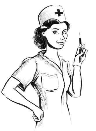 Infirmière médicale. Illustration noir et blanc d'encre Banque d'images