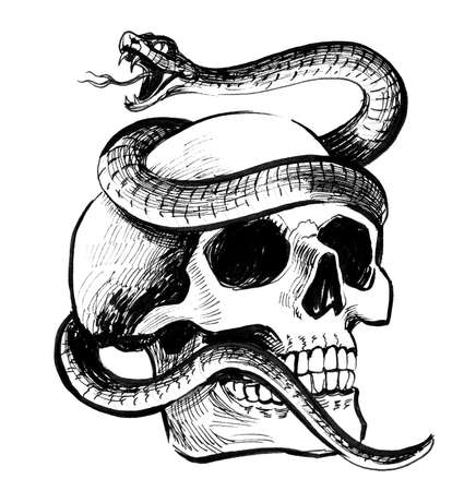 Human skull and poisonous snake. Ink black and white illustration Imagens